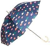 [ムーンバット] estaa×PIKKU SAARI 晴雨兼用(UV遮蔽99% 遮光99% 以上) Saaristo スライドショート式 長傘 31-231-30008-06 レディース ネイビーブルー 日本 親骨の長さ47cm (Free サイズ)