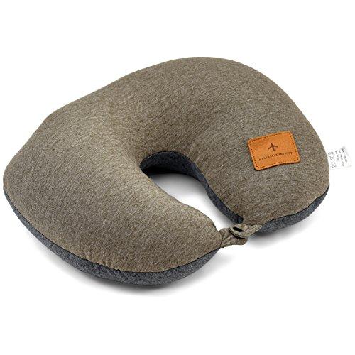 ネックピロー ふんわり [プレックス] ビーズ 2way 【 Uネック×ノーマル 】クッション 携帯枕 全3カラー カーキ
