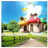 カスタム写真壁画壁紙用キッズルーム3D漫画キノコルーム子供寝室の家の装飾壁画3D @ 360cm_(W)* 230cm(H)