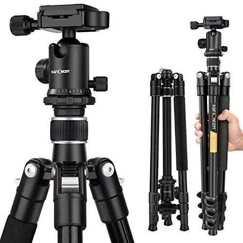 三脚 一眼レフ K&F Concept 4段三脚 軽量 コンパクト アルミ製 自由雲台 一眼レフカメラ ビデオカメラ ボールヘッド クイックシュー式 23mmパイプ径 レバーロック 三脚ケース付き 銀色