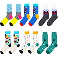 6 Pack Mens Colorful Dress Socks Argyle Funny Pattern Fashionable Crew Mid Calf Socks