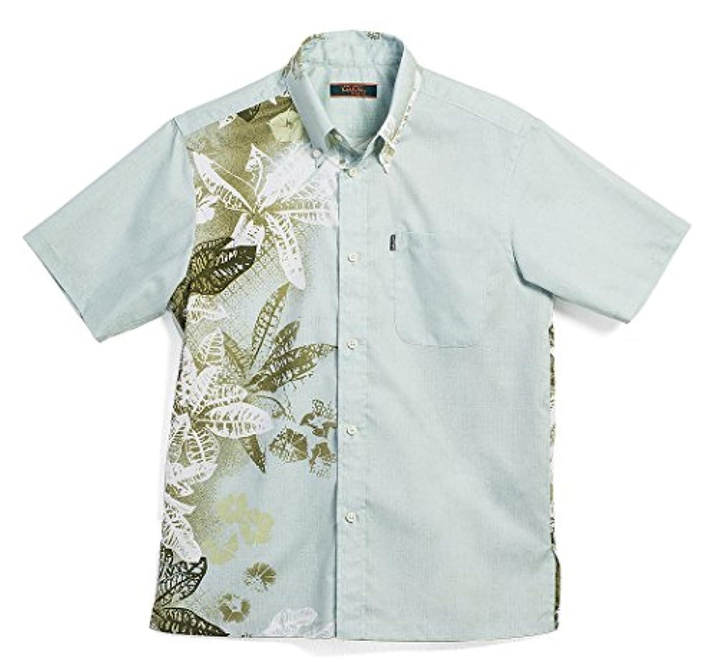 水銀のデータムMAJUN (マジュン) かりゆしウェア アロハシャツ かりゆし 結婚式 メンズ 半袖シャツ ボタンダウン クロトンミスト カーキ S