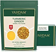 VAHDAM, Turmeric + Ginger Powerful SUPERFOOD Blend (100+ Cups) I Caffeine Free Herbal Tea | Powerful Wellness