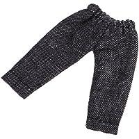 Perfk おもちゃ ドール服 ミニブライス OB11ドールのため ファッション デニムジーンズ パンツ ズボン 2色 - ブラック