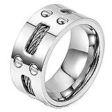 JewelryWe ジュエリー ファッション アクセサリー,メンズ リング 指輪, 婚約 結婚,ステンレス, カラー:シルバー(銀);[ギフトバッグを提供]-[16号]