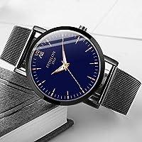 WLKVUOT 男性用腕時計クォーツ時計ステンレスメッシュベルト時計ファッションカジュアル男性時計時計ブルー