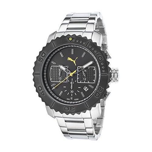 [プーマ] PUMA 腕時計 Puma Men's Gallant Ultra-Sized Black Stainless Steel Chronograph Dial クォーツ PUMA-PU103561001 メンズ [TimeKingバンド調節工具& HARP高級セーム革セット]【並行輸入品】