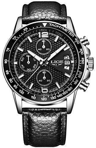 SPOTALEN スポテレン 腕時計 ジャンル制覇 ビジネス LIGE002 メンズウォッチ ブラック本革バンド