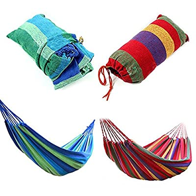 Outdoor Hammocks, Portable Fabric/Canvas Double Camping Hammock Hanging Bed High Strength With Adjustable Tree Straps For Outdoor Travel Tactical