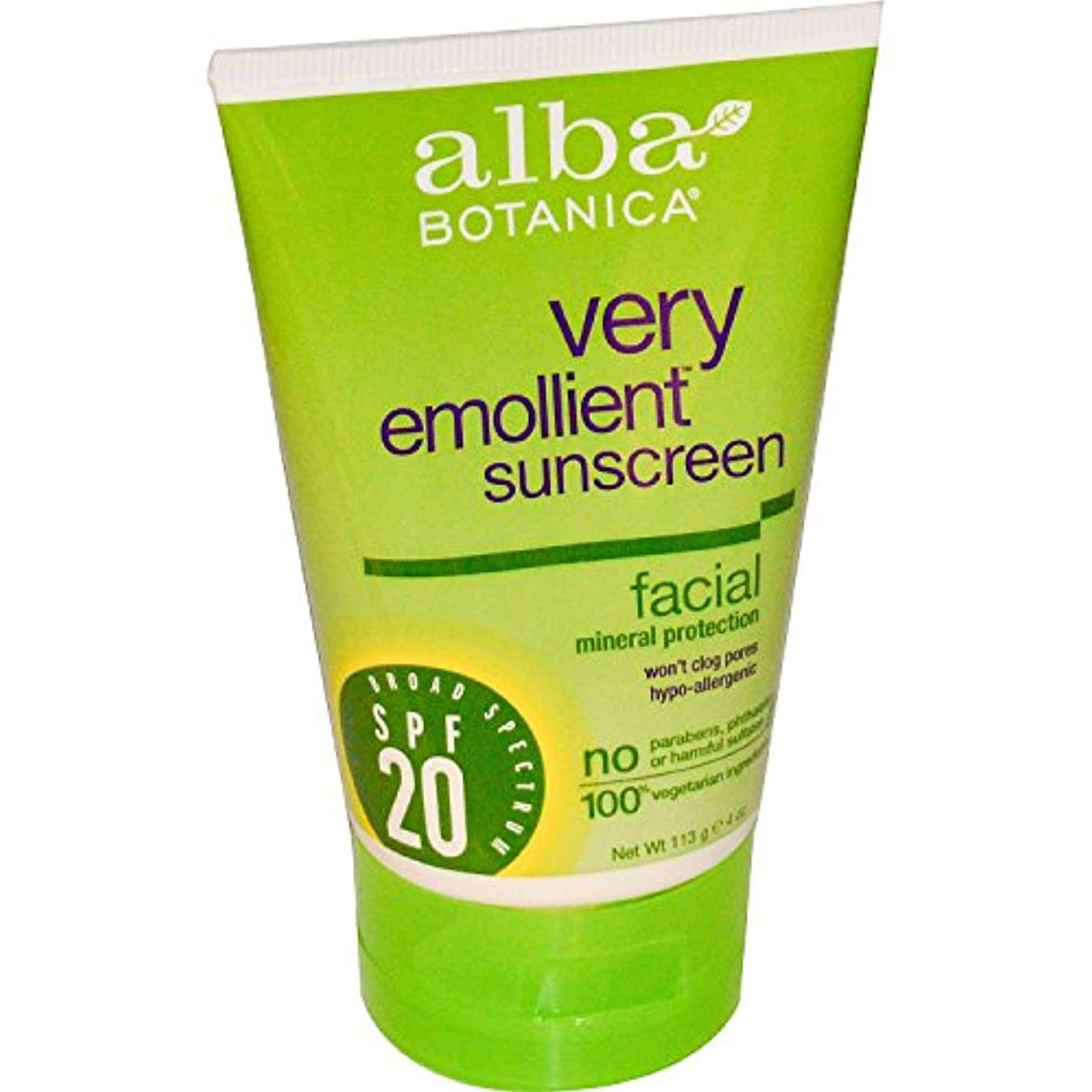 Natural Sunblock - Very Emollient - Mineral SPF 20 - Facial - 4 oz by Alba Botanica