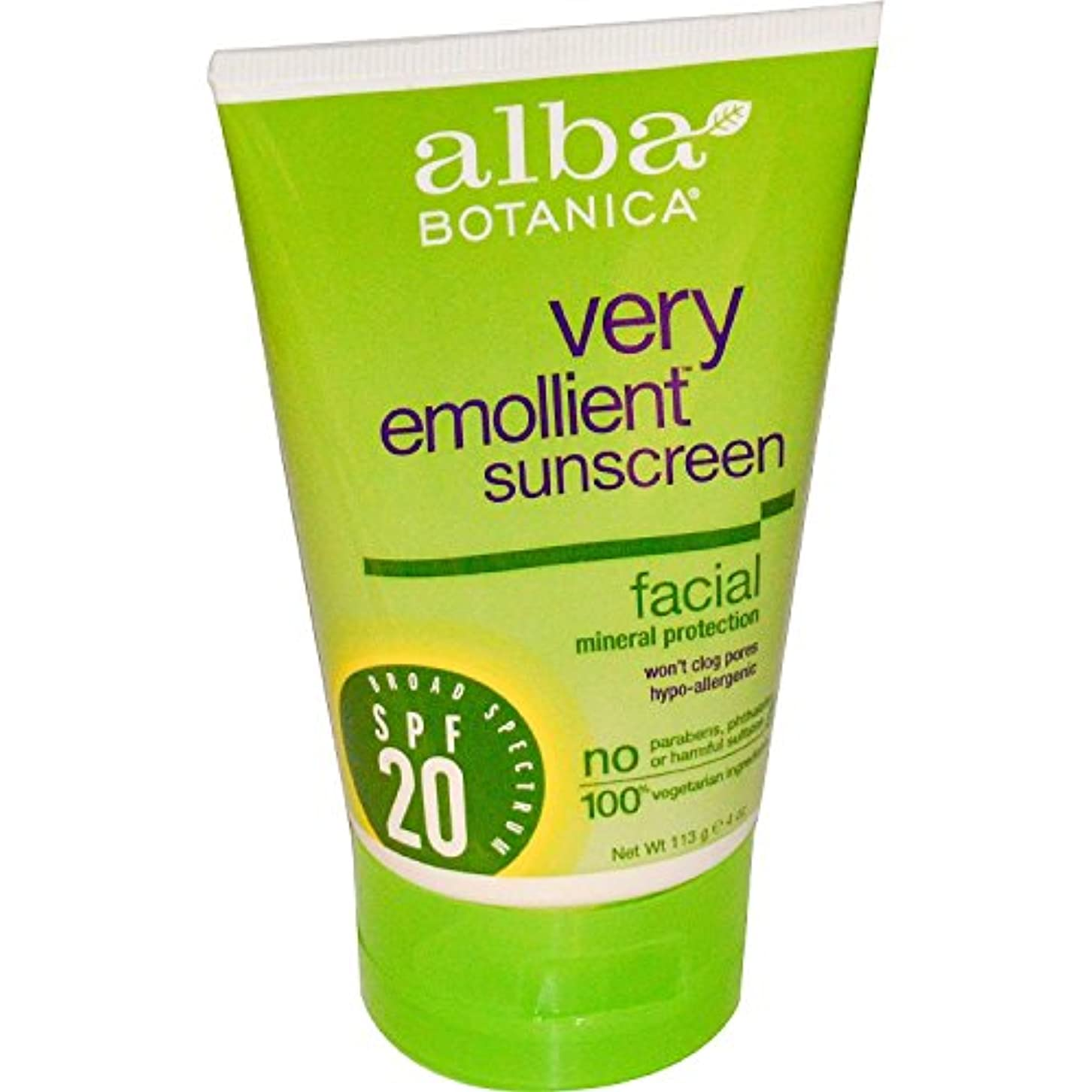からまで不毛のNatural Sunblock - Very Emollient - Mineral SPF 20 - Facial - 4 oz by Alba Botanica