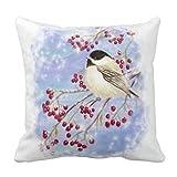 かわいい水彩四十雀ベリー雪のシーンアートピローケース(カバーのみ、中身なし)45cm×45cm