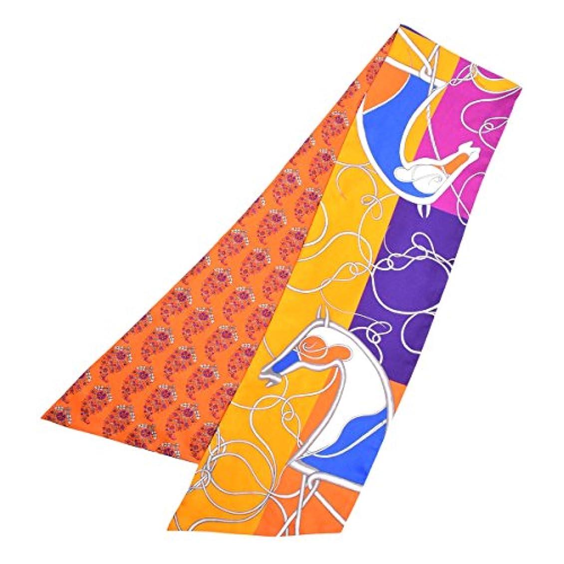 製造注文る(エルメス) HERMES マキシ ツイリー スカーフ シルク 馬 花柄 プリント リバーシブル オレンジ ブルー パープル マルチ [中古]