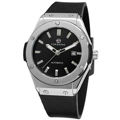 [해외]GuTe 출품 날짜 표시 기계식 실리콘 밴드 남성 자동 태엽 시계 스포츠 십대 블랙/GuTe Listing date indication Mechanical silicone band Men`s automatic winding watch Sports teenager Black