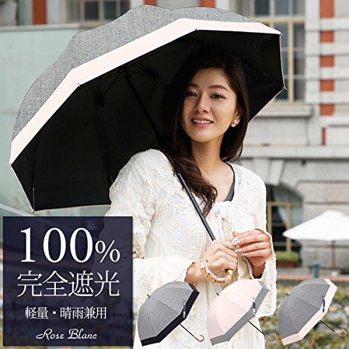 【Rose Blanc】100%完全遮光 日傘 コンビ ショートサイズ ダンガリー 50cm 15 (ダンガリーグレー×ピンク)