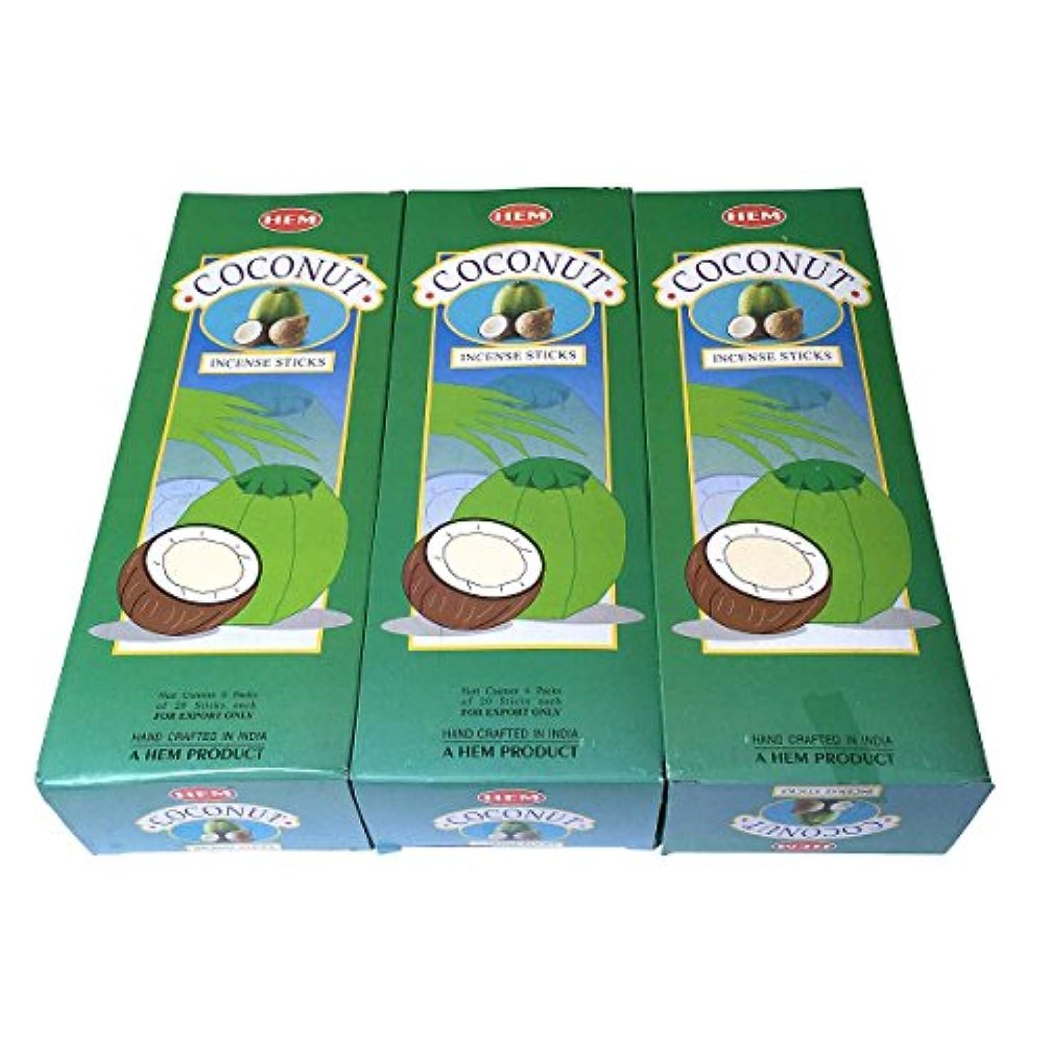 禁止する耐えられる水平ココナッツ香スティック 3BOX(18箱) /HEM COCONUT/インセンス/インド香 お香 [並行輸入品]
