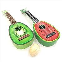 sac taske フルーツ ウクレレ 子供 ミニ 果物 ギター 2種類 セット & エッグシェーカー (スイカ × キウイ)