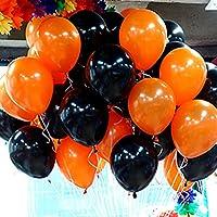 ハロウィン風船 12インチ HALLO WEEN バルーン オレンジ+ブラック 40個