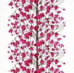 【正規輸入品】マリメッコ(marimekko)生地(布)65175-130 LUMIMARJA(ルミマルヤ・雪いちご) ピンク 生地巾145cmX100cm単位 生地カット販売 ファブリック