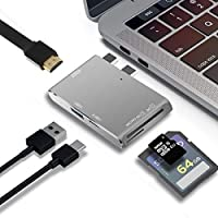 USB C Hub Type-C Hub For Macbook Pro 2016/2017 Aluminum Multi-Function 5 in 1 USB 3.1 Charging Port Data Transfer Port usb3.0 4K HDMI SD MicroSD Card Reader