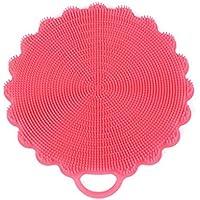 使いやすい食器洗いスポンジスクラバーキッチン洗浄抗菌ツールシリコンブラシ長持ちする OVERMAL (ピンクの)