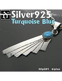 シルバー925 メンズネックレス ターコイズ/フェザーデザインネックレス hhp241