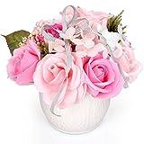 YOBANSA ソープフラワー 白陶器 枯れない 花 石鹸花束 創意プレゼント 父の日 母の日 バレンタインデー 誕生日 結婚記念日 クリスマス (ピンク)