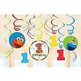 Sesame Street 1st Birthday 'Elmo Turns One' Hanging Swirl Decorations (12pc) [並行輸入品]