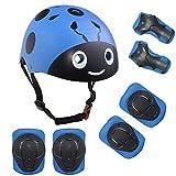 Lucky-M キッズマルチスポーツヘルメット膝パッド付き肘パッドと手首パッド、7個子供の男の子と女の子アウトドアスポーツセーフティギアセットスケートボード用サイクリングスケートスクーター (青カブトムシ)