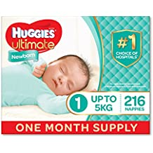 Huggies Ultra Dry Nappies, One Month Supply, Newborn Size 1 – Size 6