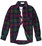 (クラベルテ) crbelte メンズ チェック 柄 シャツ長袖 ネルシャツ 選べる8色 (L, 緑×赤)