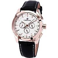 GuTe出品 自動巻き 腕時計 メンズ 革バンド カレンダー 日付 シンプル 目盛り 機械式 ローズゴールド ホワイト