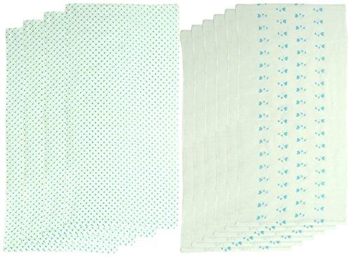 10枚組 ドビー織 ハート&水玉柄 仕立て布おむつ サックス TK717 日本製