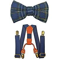 Kids Suspenders And Bow Tie Set Adjustable Suspender Bowtie Necktie Sets Boys And Girls (Navy Blue)