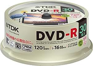 TDK 録画用DVD-R デジタル放送録画対応(CPRM) 1-16倍速 インクジェットプリンタ対応(ホワイト・ワイド) 30枚スピンドル DR120DPWC30PUE