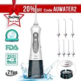 Cordless Water Flosser, ABOX Portable Oral Irrigator with 7 Jet Tips, Rechargeable Dental Flosser with 3 Modes, Anti Leakage Design, 2 Minute Timer, Ideal for Adults & Kids Use at Home and Travel