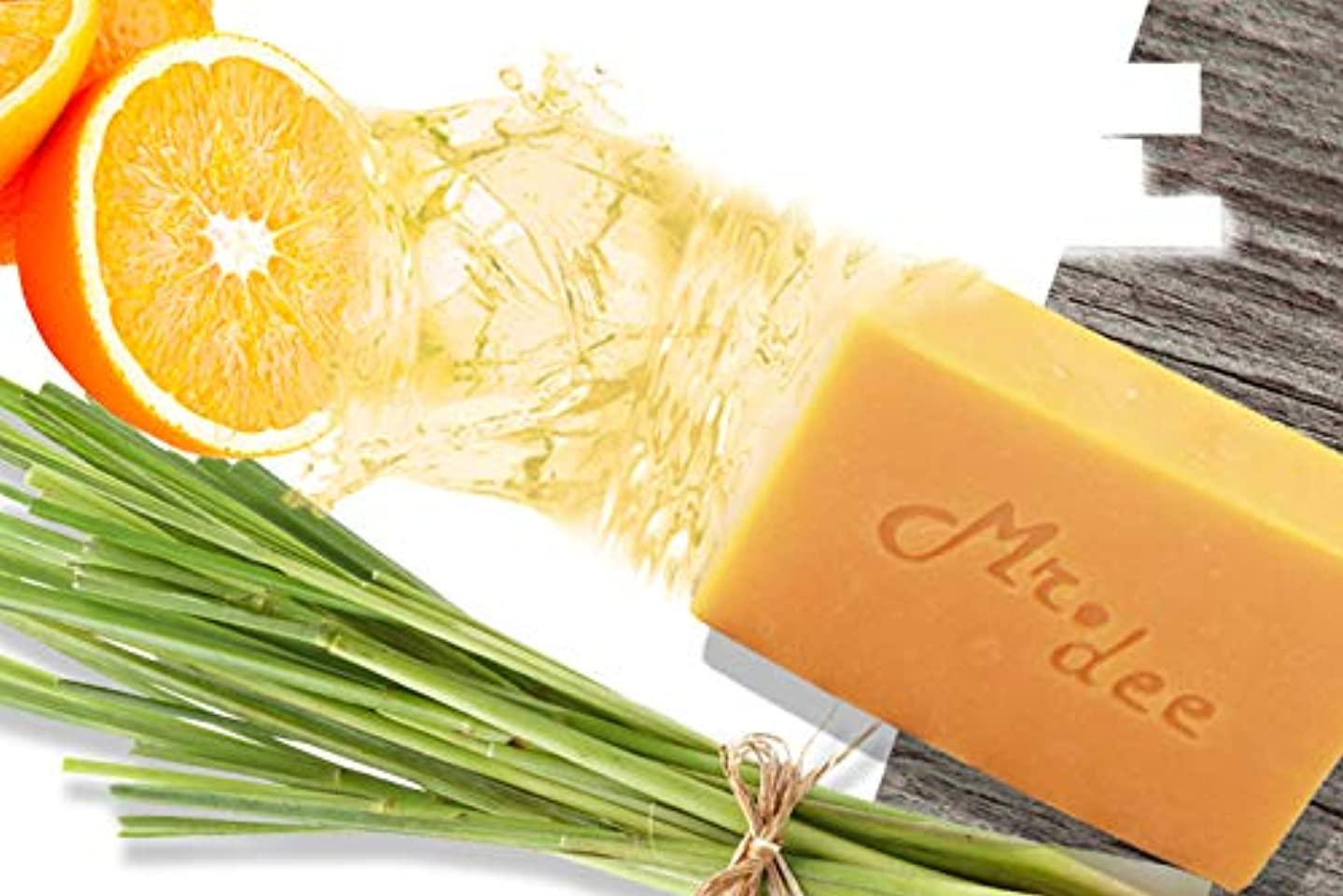「Mr.Dee」100%天然石鹸バーレモングラスエッセンシャルオイルパックを白くする非化学シアバター5バー(100グラム/バー)