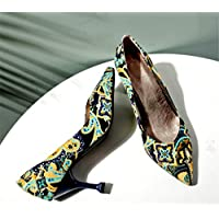 Court Shoes, Europe and America Floral Pointed Sandals High Heels Large Size Artificial PU Material Wine Glass with -6-8CM