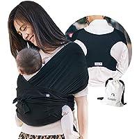 【ママリ口コミ大賞受賞】コニー抱っこ紐 (Konny by Erin) スリング 新生児から20kg 収納袋付き 国際安全認証取得 ぐっすり抱っこひも (ブラック) (2XS)