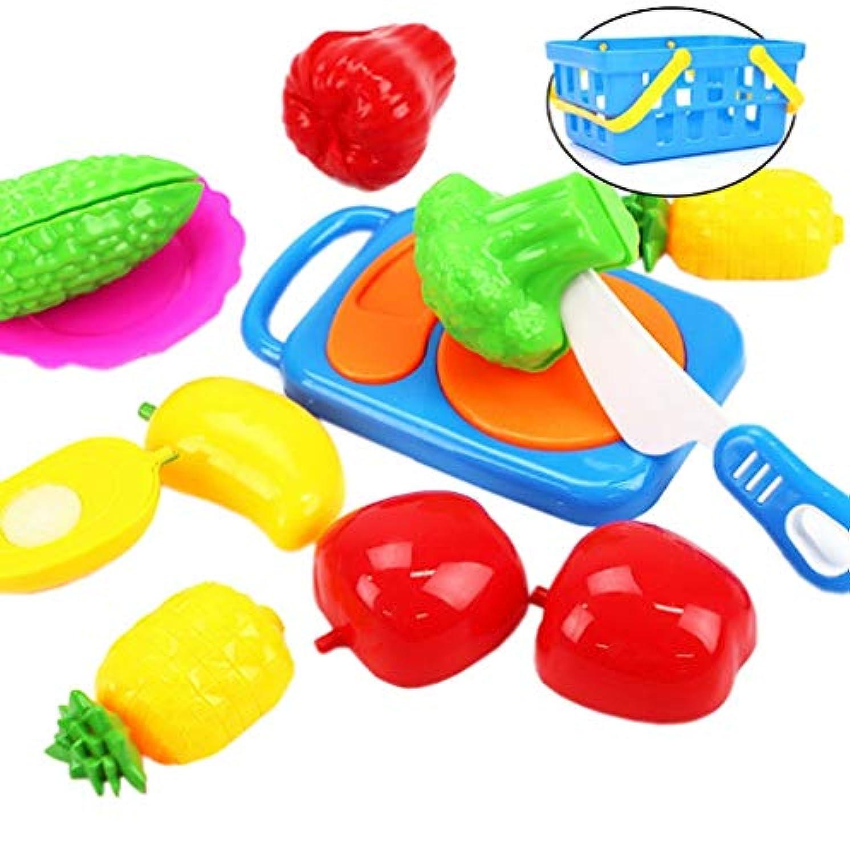 Xiang Ru 野菜 果物 子供 おもちゃ キッチン おままごと ごっこ遊び かご まな板 包丁付き 知育玩具 プレゼント 誕生日 10点セット タイプ