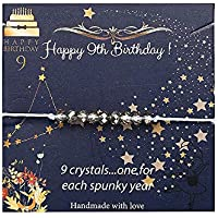 Birthday Gifts Bead Braclet for Girls, 4mm Gray Crystal Beads Bracelet Birthday Gifts for 7th 8th 9th 10th 16th 21st 22th 30th Sweet Teen Girl Happy Birthday Gifts for Women Girls With Jewelry Box
