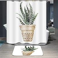 デジタル印刷ポリエステルシャワーカーテンサボテン防水性の証拠クイック乾燥浴室バスタブカーテンアンチステイン洗浄可能な3Dクリエイティブエクストラロングシャワーカーテン12本のフック (Design : BO640, Size : 80x180cm)