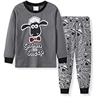 Hooyi Baby Boy's Shaun The Sheep Pajamas Clothes Suit Cartoon Sleepwear Cotton XXL(120) Grey