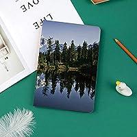 IPad Pro 11 ケース 2018新モデル対応 二つ折スタンド保護ケース iPad Pro 11インチ 専用カバー オートスリープ機能付き 手帳型 タブレットカバー紅葉の木々とクリスタルレイク自然写真と雪に覆われた山の風景