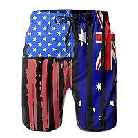 アメリカの半分オーストラリア国旗メンズホリデーパーティーボードショーツポケットドローストリング、XL