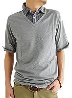 (アーケード) ARCADE メンズ 半袖 ポロシャツ フェイクレイヤード デザイン 半袖シャツ カットソー ビズポロ