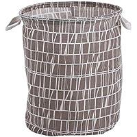 uxcell 収納バスケットセット ビン ケース ホルダー オーガナイザー コットンリネン 折り畳み式 家の装飾 服 玩具 30 x 41cm グリッドのパターン コーヒーカラー