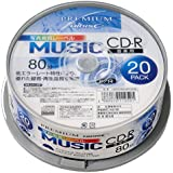 PREMIUM HI-DISC CD-R 音楽用 700MB 32倍速 「写真画質レーベル」  20枚 HDSR80GMP20SN