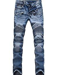ライディング パンツ バイクジーンズ メンズ デニム ロング ブルー