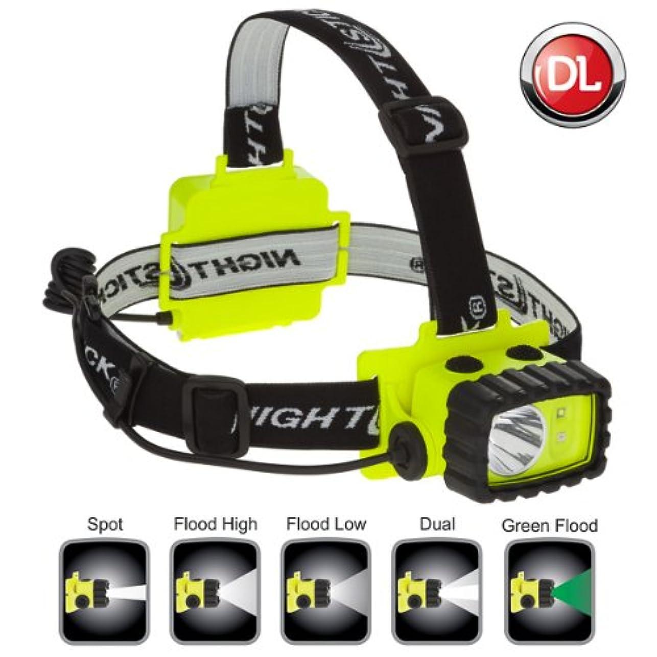 朝の体操をする和らげる下防爆LEDヘッドライト BAYCO XPP5458G NIGHTSTICK Intrinsically Safe Multi-Function Headlamp XPP-5458G 【中心部:白色LED×1灯 サイド部:白色LED+緑色LED:各1灯 / 明るさ130ルーメン / 点灯時間:14時間 / 単3アルカリ電池×3本使用】 XPP 5458G